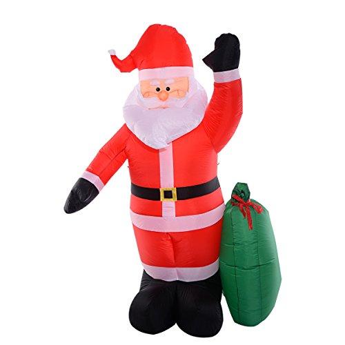 COSTWAY LED Weihnachtsmann mit Geschenkbox aufblasbar Weihnachtsdeko beleuchtet Santa Claus Ladendeko Weihnachtsfigur Weihnachtsdekofigur 244cm mit installierter - Weihnachten Beleuchtete Geschenkboxen