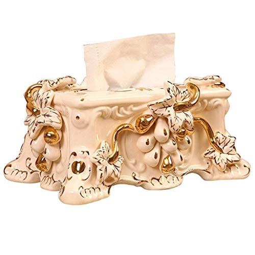 YZQ Keramik Tissue Box Cover Halter Wohnzimmer Schlafzimmer Couchtisch Dekoration Aufbewahrungsbox Serviettenschale/Weiß / 26 cm x 25 cm x 15 cm (Keramik Tissue Box Cover)