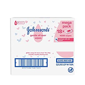 JOHNSON'S Gentle All Over Wipes - 1008 ct (56x18) - Enriched with Silk Extract - pH Balanced for Delicate Skin