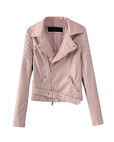 Veste En Cuir Simili Cuir Blouson Biker Manches Longues Motard Zip Manteau Pour Femme Pink M