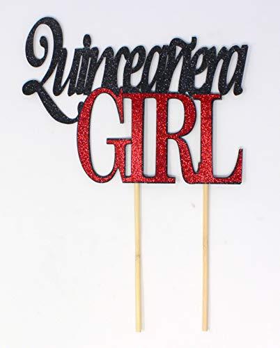 All About Details Quinceanera Girl Tortenaufsatz, zum 15. Geburtstag, Quittenmotiv schwarz/red
