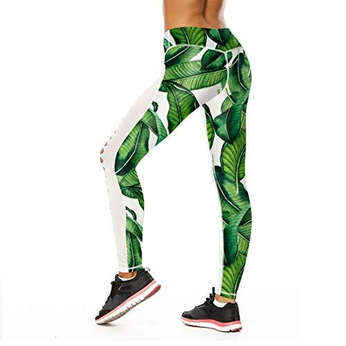 Uicici pantaloni di yoga della foglia di stampa di personalità di stampa digitale della cavità di svago dei pantaloni di yoga femminili femminili (size : m)
