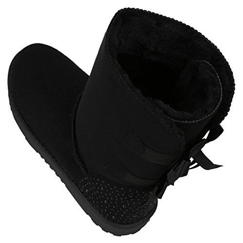 napoli-fashion Bequeme Warm Gefütterte Damen Schuhe Stiefel Schlupfstiefel Jennika Schwarz Camiri