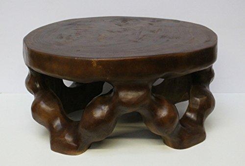 floristikvergleich.de Hocker Tisch Beistelltisch Ablage Blumenhocker Holz dunkel Braun 58cm Nr.2