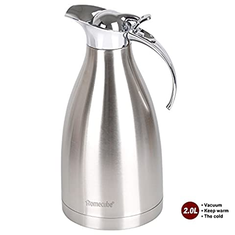 Vacuum Jug, Homecube Stainless Steel Double Wall Vacuum Insulated Coffee Pot Thermos, Coffee Plunger, Juice / Milk / Tea insulation pot, 2L, 65