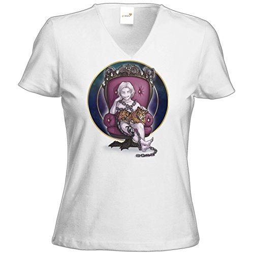 getshirts - Das Schwarze Auge - T-Shirt Damen V-Neck - Götter und Dämonen - Namenloser - Chibi Weiß