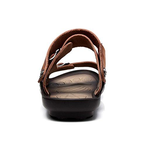 Neue Sommer Herren Offene Zehen Druckknopf Kreuzband Tägliche Bequeme Rückband Einfache Flache Lässige Sandalen Hellbraun