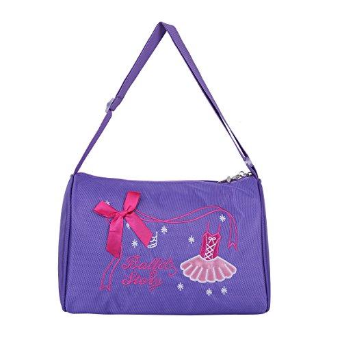 Freebily Kinder Mädchen Ballett Tasche Tanztasche Gymnastiktasche Dance Bag Schultertasche Sport-tasche Duffeltasche Handtasche für Ballerina mit Reißverschluss Lila One Size