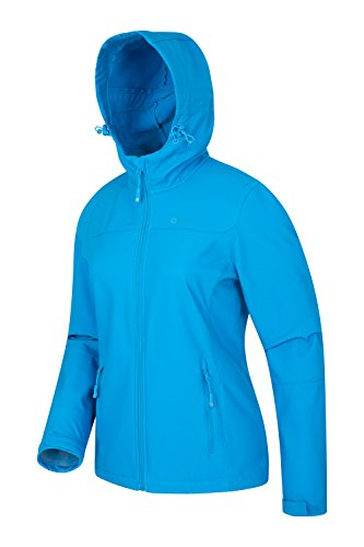 Mountain Warehouse Exodus Damen wasserabweisende Softshelljacke Mantel Übergangsjacke Regenjacke mit Kapuze warm winddicht atmungsaktiv Wandern Camping outdoor Türkis