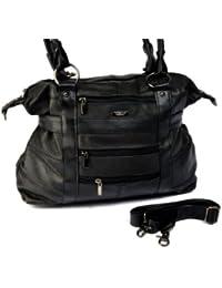 Ladies Large Leather Tote Bag / Handbag / Shopper with Detachable Shoulder Strap (Black / Dark Brown / Fawn / Navy / Red / Tan)