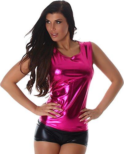 veryzen-dames-chemise-t-shirt-sans-manches-en-cuir-regarder-brillant-aspect-mouille-pink-36-38-label