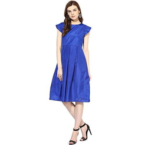 Xoxo Blue Half Sleeved Silk Dress