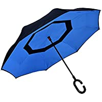 Creativi vivavoce inverso ombrello doppio strato padella ombrello di sole veicoli commerciali ombrello ( colore : Blu )
