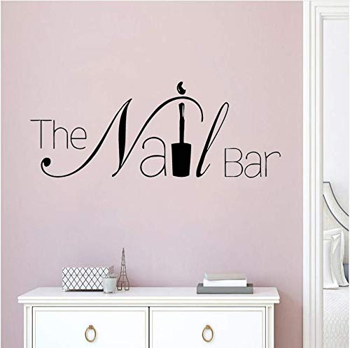 Qthxqa Die Nagel Bar Logo Wand Fenster Aufkleber Maniküre Design Wandtattoo Abnehmbare Nail Art Wall Poster Schönheitssalon Fenster Dekor 57 * 22 Cm (Die Nägel Für Halloween-design)