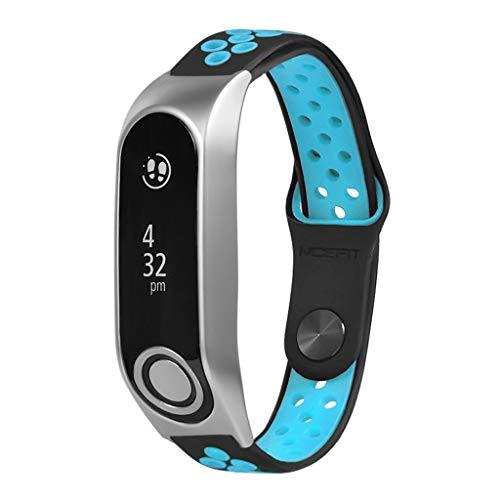 WAOTIER Für Tomtom Touch Armband Silikon Armband mit Luftigern Löchern und mit Ersatzarmband für Tomtom Touch mit Schnellverschluss Wasserdichter Armband für Männer Frauen (Blau)