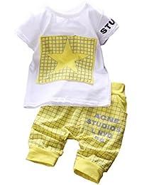 Hotportgift enfant 2 Pièces Bébé Garçon Etoile vêtements de sport T-shirt et Short Pantalon de costume