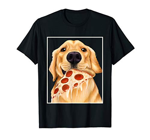 Golden retriever, der Pizza - Hund mit einer Scheibe isst T-Shirt -
