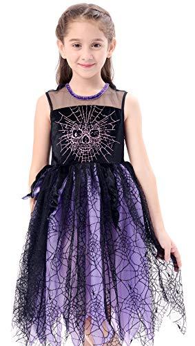 IKALI Hexe Kostüm für Kinder Mädchen, Spider Skelett Halloween Karneval Party Kleid 4-6 Jahre (Spider Girl Kostüme Für Kleinkind)
