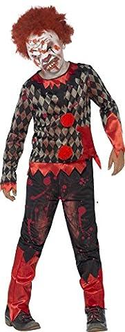 Smiffy's Children's Deluxe Zombie Clown Costume, Latex Mask, Top &