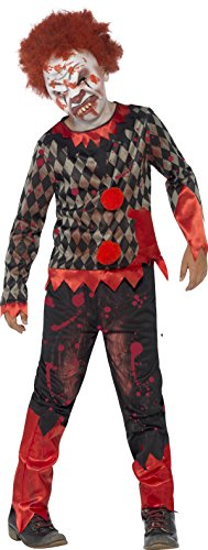 Smiffys, Kinder Jungen Zombie-Clown Deluxe Kostüm, Oberteil, Hose, Maske und Haare, Größe: L, 44293