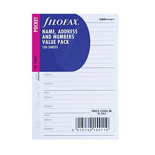 Filofax Pocket Name/Adresse/Telefon 100Pack (b213055) (Amazon-pocket-kalender)