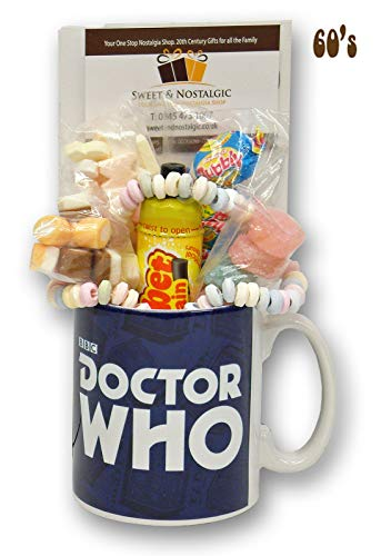 Doctor Who Logo Mug with a Time Travelling Selection of 1960's Sweets
