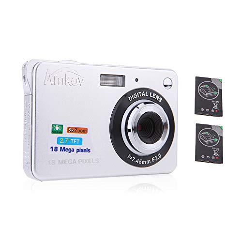 "AMKOV Compact HD Digitalkamera Video Camcorder 18MP 2,7"" TFT 8X Zoom Smile Capture Anti Shake mit 2 Batterien Weihnachten Festival Geschenk"