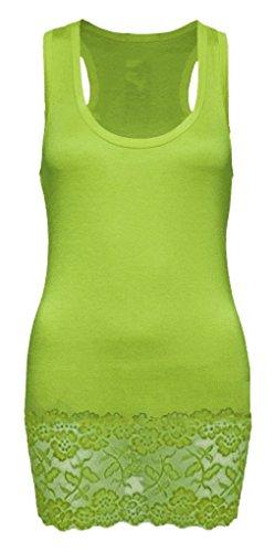 Apple Top Shirt (Damen Tanktop Spitze Racerback - Beach Top - Tank Tops - Ringertop - Ringerrücken - Spitze Longtop - Trägertop - Tshirt - SM - Apple Green)