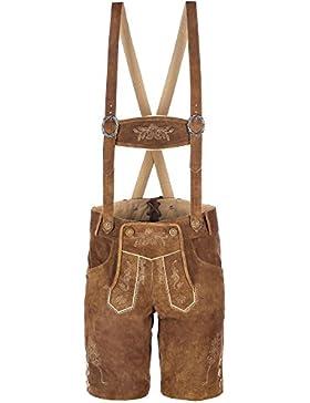 hochwertige kurze Herren Trachten-Lederhose aus Echtleder mit traditioneller Stickerei