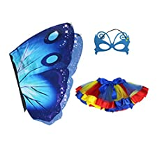 Amosfun Butterfly Wing Tutu Gonne Cape Fairy Costume con Maschera Baby Girls Dress up Costume Party Skirt per Cosplay Party Favors (Blu)