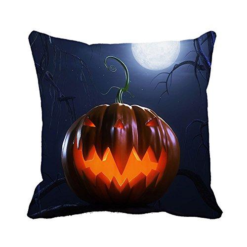 warrantyll Moonlight Halloween Kürbis Baumwolle Kissen, quadratisch, dekorativer Überwurf-Kissenbezug, baumwolle, #Color 1, 26*26