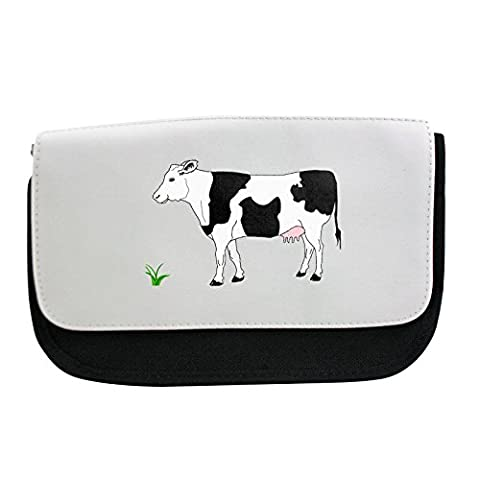 Pencil case with A black white cow and a bunch of grass.