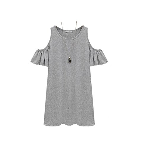 IHRKleid Damen Vogue Schulterfrei unregelmäßige sidetale Tunika Top Shirt Hemdkleid Kurz Oversize S- XXXXL Grau