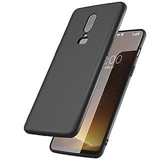 Sameants OnePlus 6 Hülle Case, Ultra Slim TPU Telefonhülle Matte Silikon Handyhülle Schutzhülle für One Plus 6, Schwarz