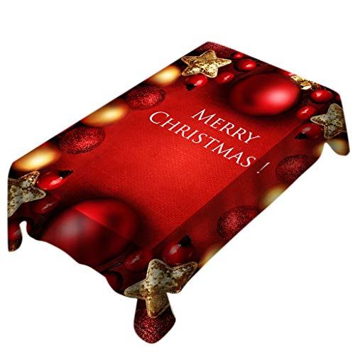 Bolanq, tovaglia rettangolare con stampa natalizia, decorazione per la casa, multicolore, 140x180cm