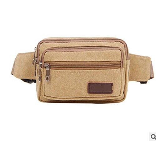 ZYT Multi-Funktions-Zippertaschen und Frauen Retro Leinwand Handy Tasche Khaki