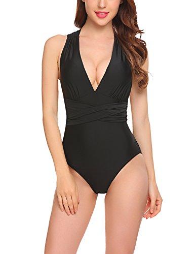 Meaneor_Fashion_Origin Bikini Damen Badeanzug Mädchen Neckholder Swimsuit Neu Fashion Schwimmanzug Einteiler Bademode Schalen Schlankheits Badeanzug Schwarz XXL