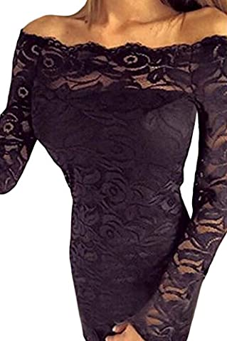 Fempool Women Glamorous Embroidered Floral Lace Overlay Off Shoulder Bodycon Tunic Midi Party Prom Evening Dress Black M