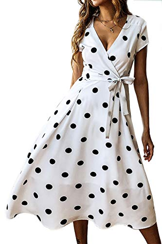 Yacun Femme Polka Dot Robes Longues À Manches Courtes V Cou Robe Portefeuille Blanchit M