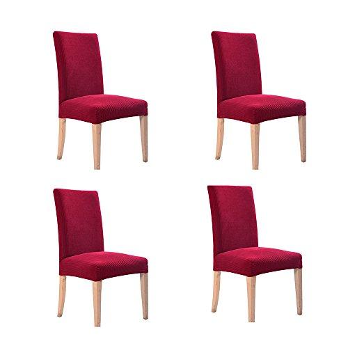 Nibesser 4er Set Karo Oberfläche Stuhlhussen Stretch Stuhlbezug elastische Moderne Husse Dekoration Stuhlüberzug für Universelle Passform Polyester (Rot) (Stuhlhussen-set)