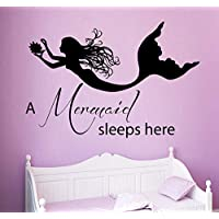 A Mermaid Sleeps Here Quote Wall Decal Nymph Girl Bedroom Wall Sticker Vinyl Kids Nursery High Quality Ocean Style Decor 57x82cm