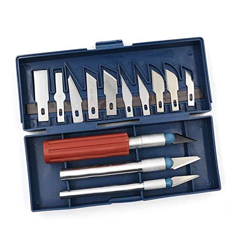 13pc Durable Précision Couteau Ensemble Exacto Style Multi-fonction Couteau Hobby Artisanat Sculpture Cutter Graver Sculpture Art Tool Set