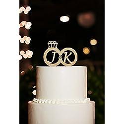 Monogramm Tortenaufsatz für Hochzeit Dekoration, Persönlichen Couple Name Kuchen Topper, Ring Tortenaufsatz mit Initiale für Verlobungsring