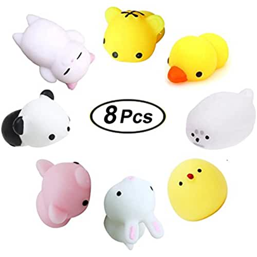 mini kawaii miniaturas kawaii Mini Squishies Kawaii, Swallowzy 8Pcs Animal Squishies Squeeze Toys Soft Squishy Release Stress Animal Toys Kawaii Animal Squishy Slow Rising Mini Tiger Duckling Seal Chick Rabbit Pig Panda Cat