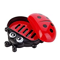 Soap Dishes,Yukong Ladybug Plastic Soap Disk Box Case Travel Soap Holder (Red)