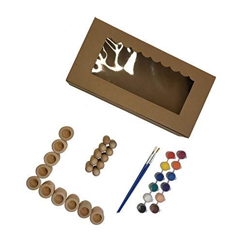 MIC`s choice - Holz-Figuren-Set | 10 Stück Figuren und 10 Stück Töpfchen, inkl. Acrylfarben-Set