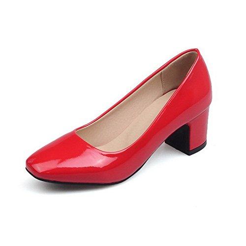 VogueZone009 Donna Puro Tirare Pelle di Maiale Punta Quedrata Ballet-Flats Rosso