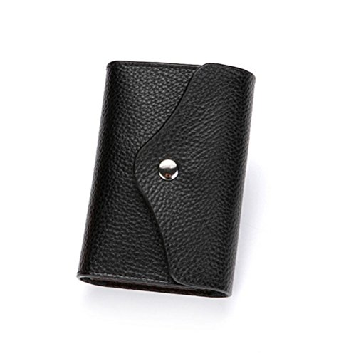 GTUKO Magnetische Antimagnetische Rfid Kreative Brieftasche Organ-Art-Leder-Karte Tasche Doppelte Schnalle Multi-Kartenhalter Kleine Reißverschluss Geldbörse , Black Magnetische Organisatoren