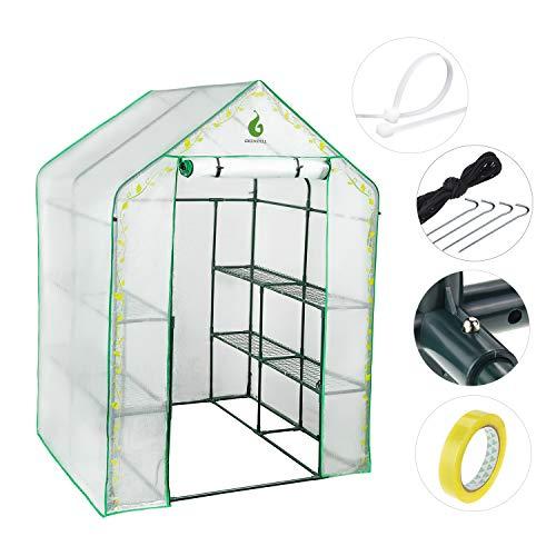Greentell Serre de Jardin avec Couverture en PVC et 8 Tablettes Robustes, Tube D'épaississement, Serre Stable pour Le Jardinage Utilisation D'intérieur en Pot de Greenhouse Pot de Fleurs