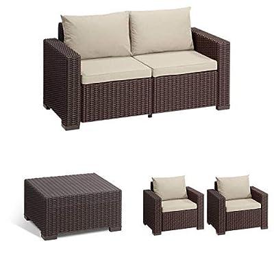 Allibert Lounge Sofa California 2-Sitzer, braun/panama taupe + Tisch California 68x68 cm, braun + Lounge Sessel California 2er Set mit Kissen